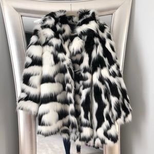 Black and white faux fur coat